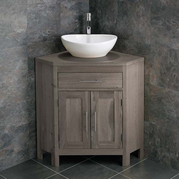 Large Bathroom Grey Wash Solid Oak Corner Bathroom Vanity Cabinet Oval Basin Set Altalg