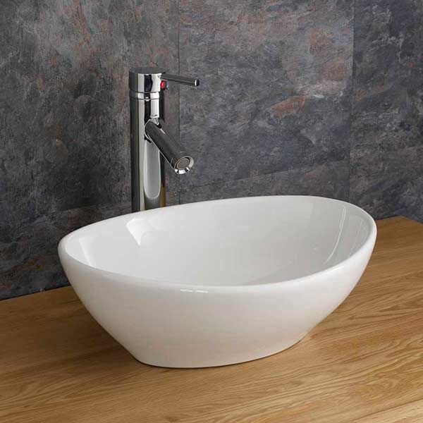 Oval 400mm x 340mm Messina Counter Or Cabinet Top Basin| Ceramic Sink