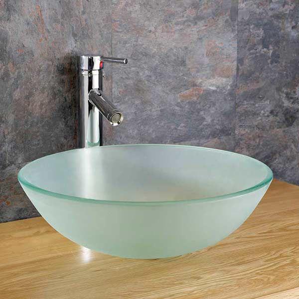 Cloakroom Frosted Glass Ferrara 350mm Round Bathroom Basin Bowl Sink