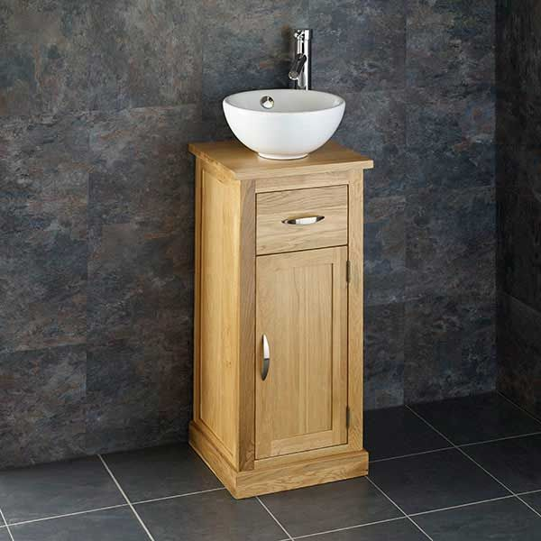Small 370mm Oak Vanity Cabinet With, Small Bathroom Sinks With Cabinet