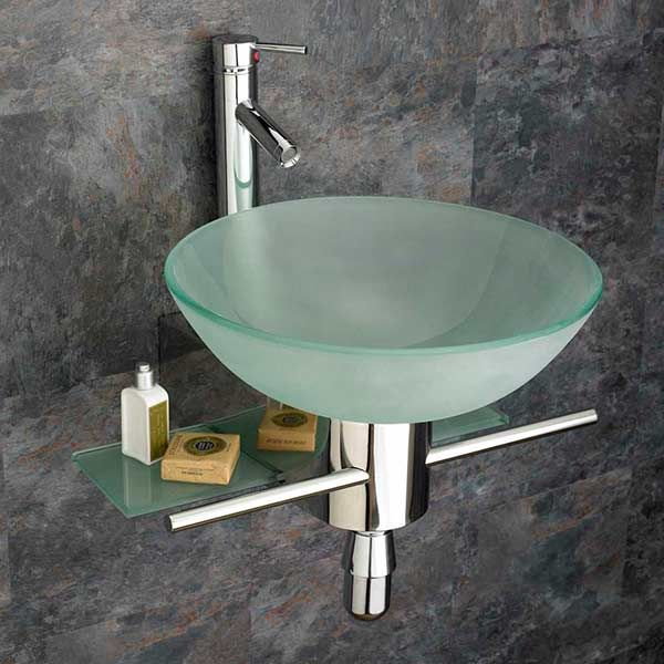Frosted 420mm Round Glass Bathoom Basin Space Saving Wall Mounted Set