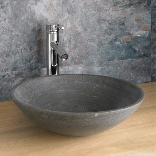 400mm Round Counter Hungportici Black Natural Stone Bathroom Basin Bowl