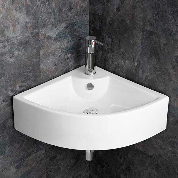 Wash Basin Wall Mounted Sink, Corner Bathroom Sinks For Small Spaces