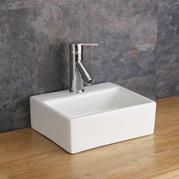 Small Rectangular 330mm White Ceramic Hand Basin Salerno
