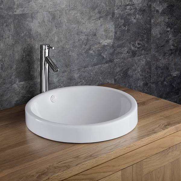 Clickbasin Mid Size Round Above Counter Bathroom Washbasin 350mm Diameter IMOLA