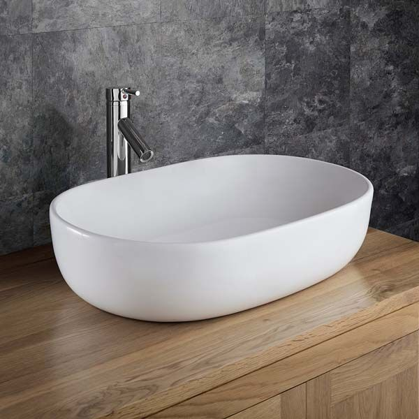 Counter Top Large White Oval Bathroom, Over Counter Bathroom Sink