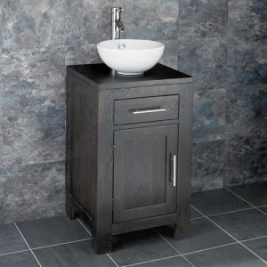 Freestanding 450mm Solid Wenge Oak Vanity Unit Stabia