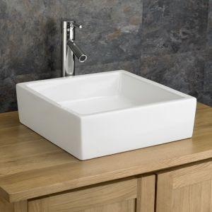 Bergamo Square Ceramic Countertop Bathroom Sink 400mm X