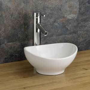Bologna 300mm X 280mm Counter Mounted Oval Small Cloakroom