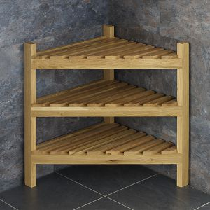 Solid Oak 60cm Tall Slatted Corner Shelving Storage Unit