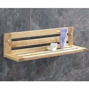 Hand Made Solid Oak 450mm Long Slatted Bathroom Shelf Fixing