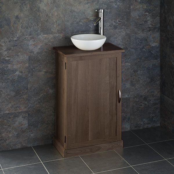 Narrow Dark Oak Solid Oak 500mm X 290mm Bathroom Vanity Round Basin Set Cube50g