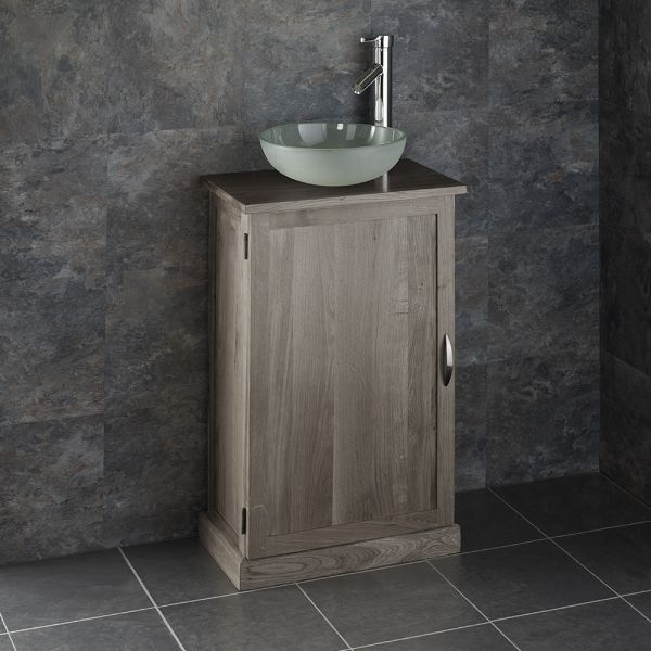 Brilliant Slimline Grey Wash Solid Oak Bathroom Cabinet Frosted Glass Basin Set Cube50G Home Remodeling Inspirations Genioncuboardxyz