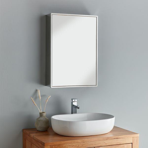 Tall Single Door Bathroom Mirror Cabinet 500 X 700mm Almeria