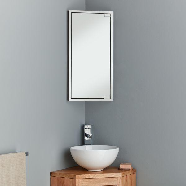 Space Saving Bathroom Corner Mirror Cabinet 600mm Tall Bilbao
