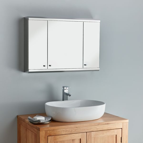 800mm Family Bathroom Mirror Cabinet, Long Mirrored Vanity Cabinets