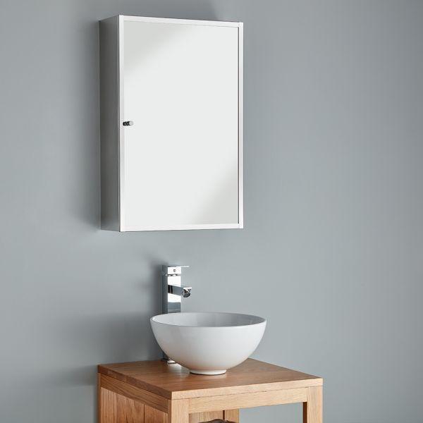 Compact Wall Mounted Bathroom Mirror Cabinet 400mm Monaco