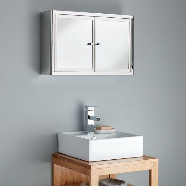 Twin Door 600mm Wide Small Bathroom Mirror Cabinet Nancy