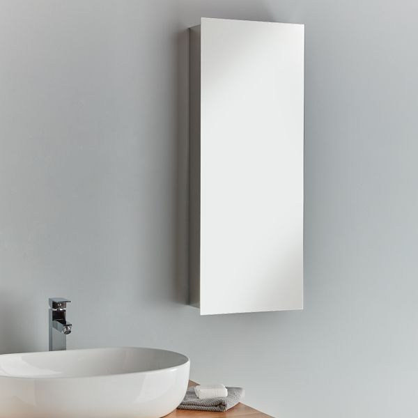 Slimline Stainless Steel Bathroom Mirror Cabinet 900mm Lille
