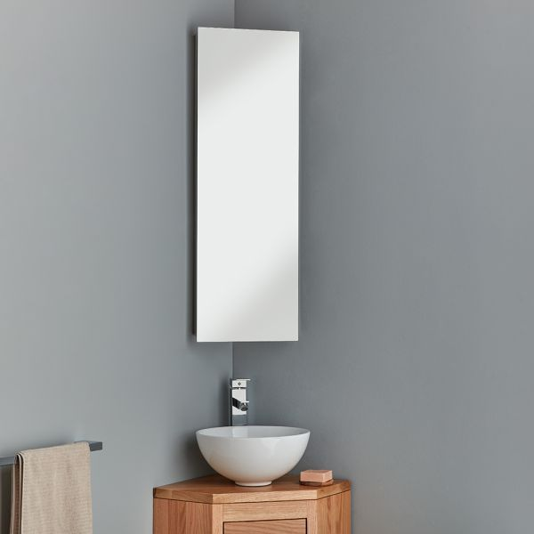 Tall Corner Bathroom Mirror Cabinet With Shelves 900mm Reims