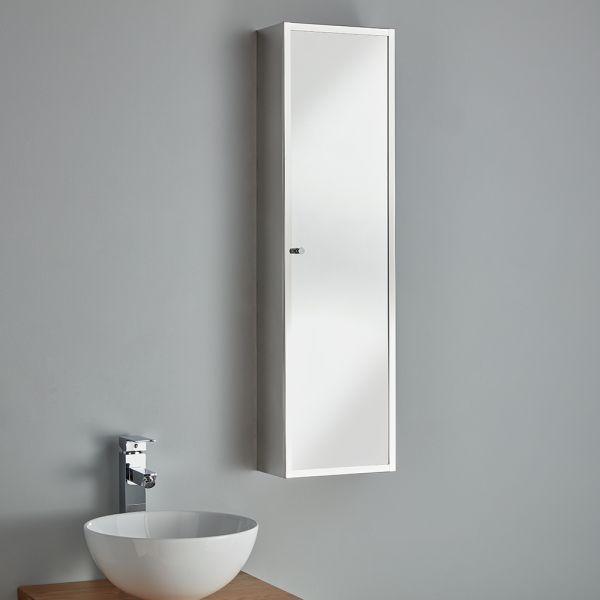 Space Saving Bathroom Mirror Cabinet Palma, Mirrored Bathroom Floor Cabinet