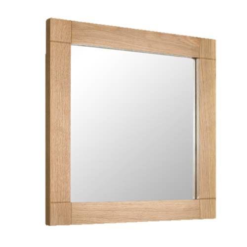 450mm Square Bathroom Mirror, Oak Framed Bathroom Mirror With Shelf