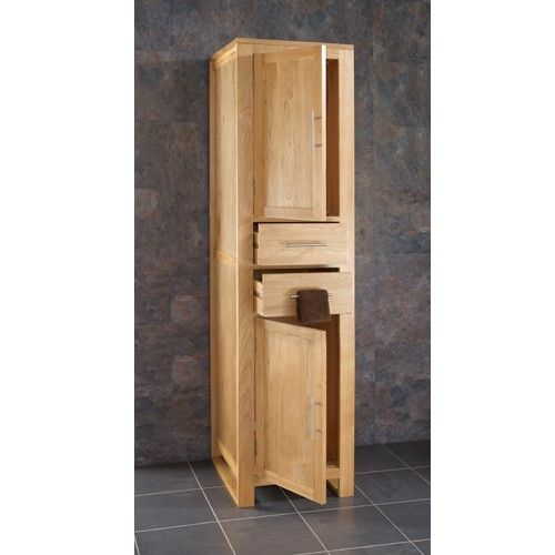 Solid Oak Tall Bathroom Storage Cabinet With Two Drawers