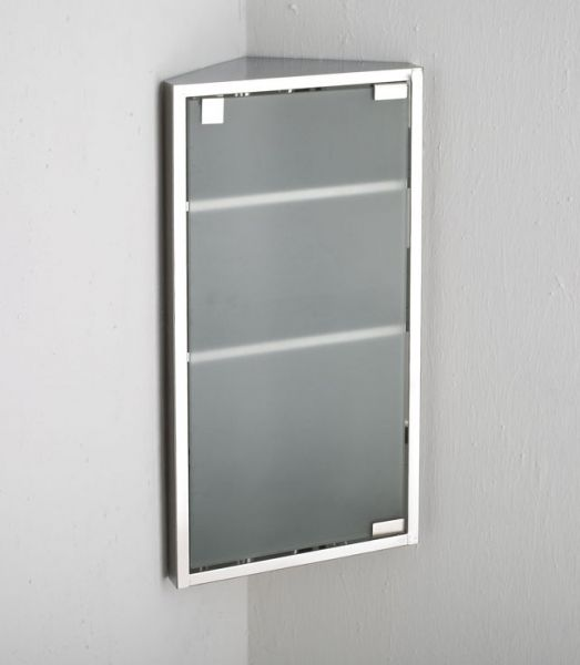 600mm X 300mm Wall Hung Bilbao Single Door Corner Frosted Glass Cabinet