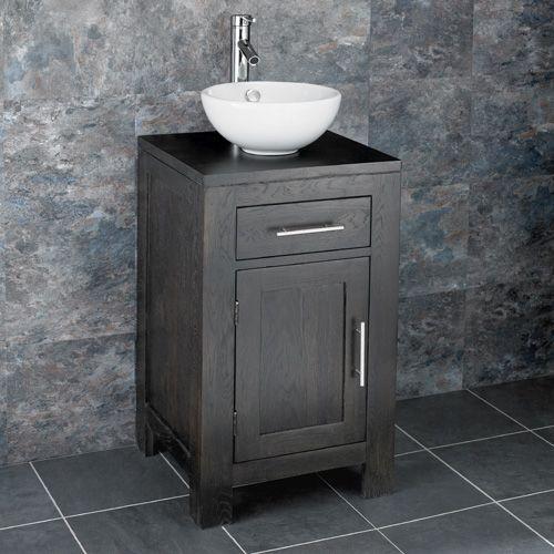 Freestanding 450mm Solid Wenge Oak Vanity Unit Stabia Round Sink