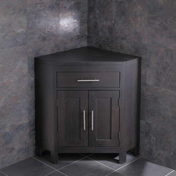 Large Dark Wenge Oak Bathroom Corner Bathroom Storage Vanity Cabinet ALTALW