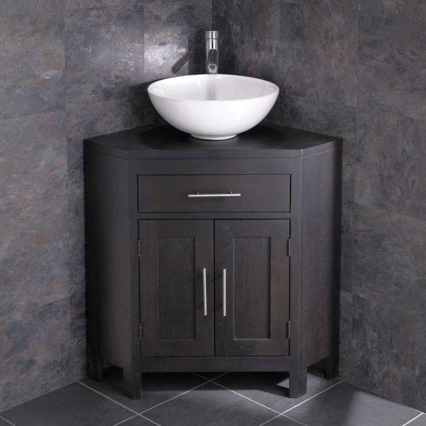 best service 098e7 beb78 Round Bathroom Bowl Wash Basin with Alta Wenge Dark Wood Double Door Corner  Cabinet