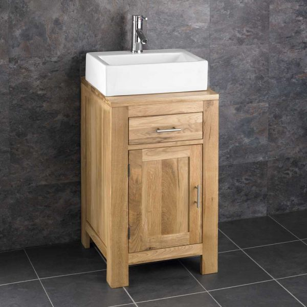 Magnificent Oak Square Cloakroom Storage Unit 450Mm Rectangle Basin Set Alta45 Home Remodeling Inspirations Genioncuboardxyz