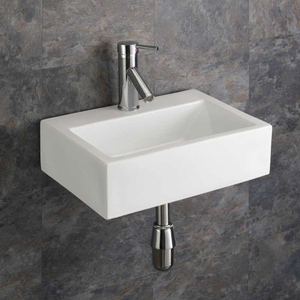 Groovy Small Bathroom Wall Hung White Rectangle Sink 430Mm X 325Mm Barletta Download Free Architecture Designs Grimeyleaguecom