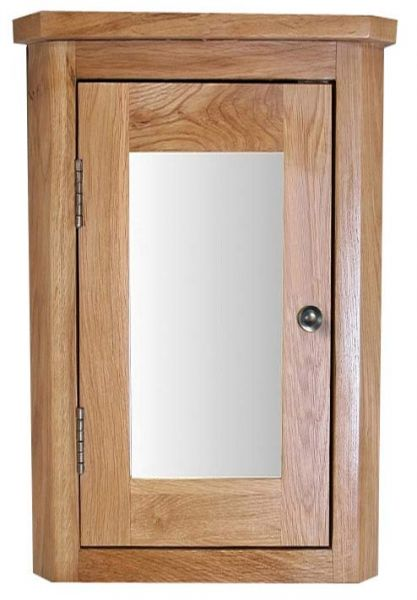 Oak Wall Mounted 600mm Tall Corner Bathroom Mirror Cabinet