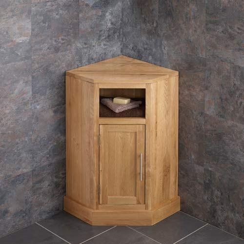 Single Door Solid Oak Cube Corner Bathroom Cabinet with No ...