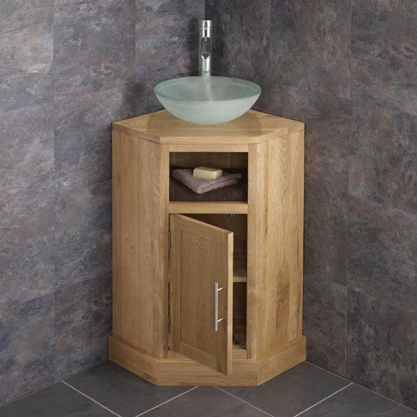 Solid Oak Cloakroom Corner Sink Unit Cube Range With 310mm Basin Set