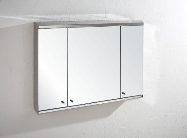 120cm Wide Triple Door Biscay Mirror Bathroom Wall Cabinet