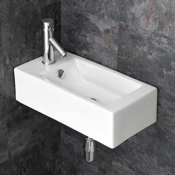 500mm Lucca Left Handed Rectangular Wall Mounted Bathroom Sink Basin