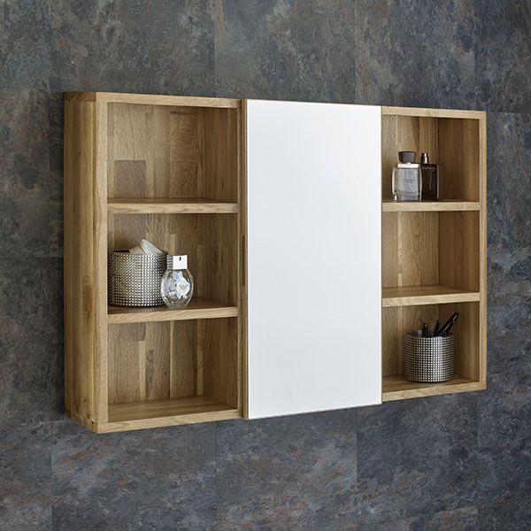 Solid oak wall mounted bathroom mirror cabinet and shelves - Wall mounted mirrored bathroom cabinet ...