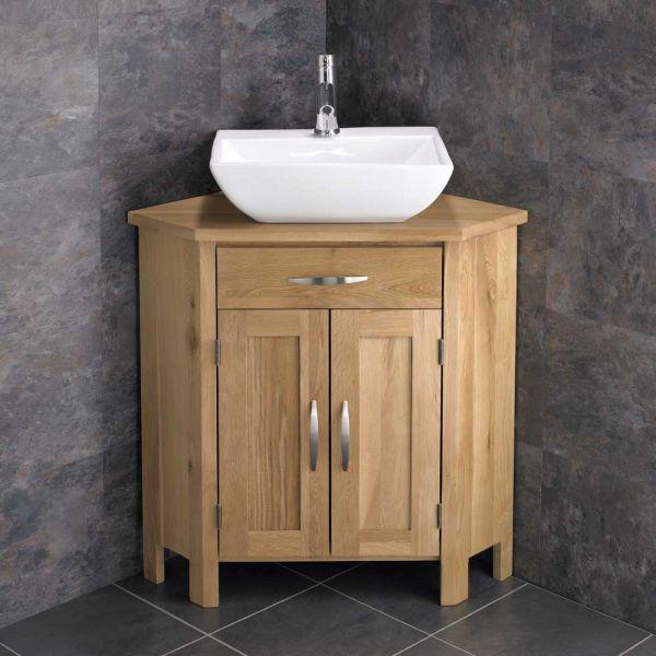new concept 7e17f d94ba ** LAST ONE ** Rectangle White Bathroom Sink on Large Corner Solid Oak  Storage Cabinet OHIOL