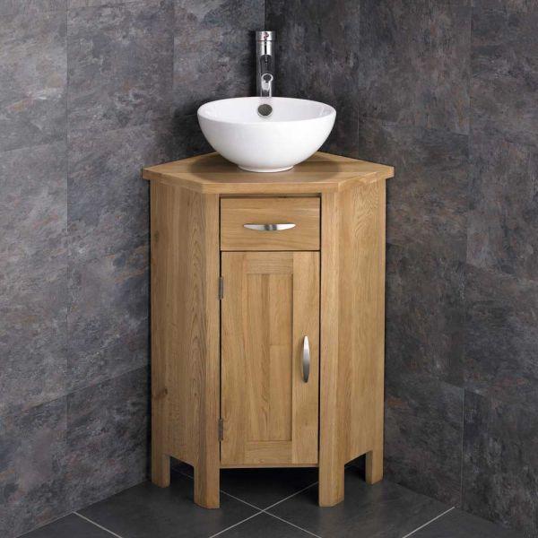 Ohio Space Saving Corner Oak Vanity Cabinet With Round 300mm Sink Set