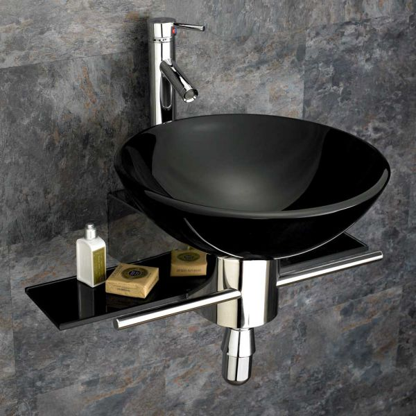 Pleasant 420Mm Round Black Glass Padova Bathroom Wash Basin With Wall Mounted Stainless Shelf Set Download Free Architecture Designs Scobabritishbridgeorg