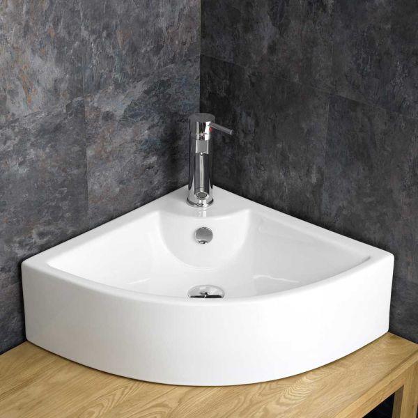 cheap for discount 7e4a7 4c4b6 Corner Above Counter Large White Ceramic Bathroom Sink 660mm PRATO