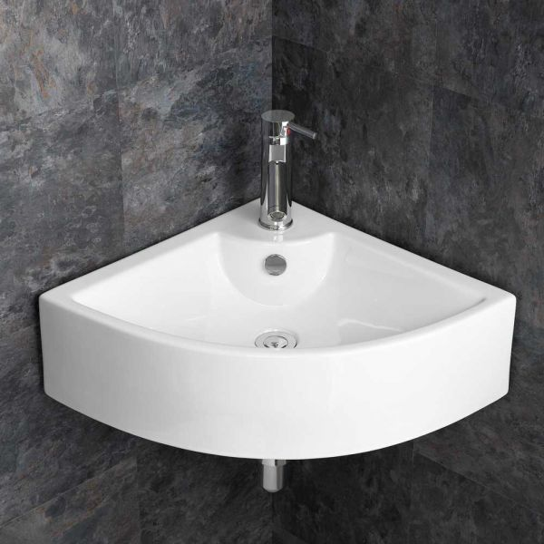 Modern Large 660mm Prato Corner Bathroom Wash Basin Wall