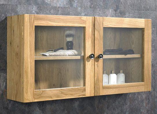 Assembled Solid Oak Glass 750mm Bathroom Double Door Wall