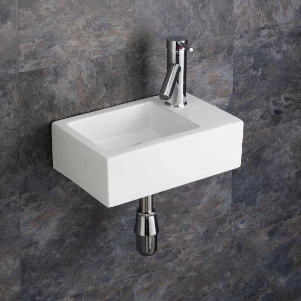Cloakroom Compact Rectangle Wall Hung Basin 360mm X 235mm Right Taranto