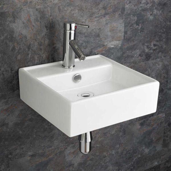 Small Square Wall Hung Ceramic Small Cloakroom Basin 380mm Tivoli