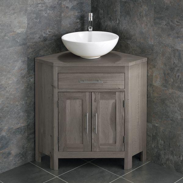 online store 5037e 4b7ff Large Bathroom Grey Wash Solid Oak Corner Bathroom Vanity Cabinet + Round  Basin Set ALTALG