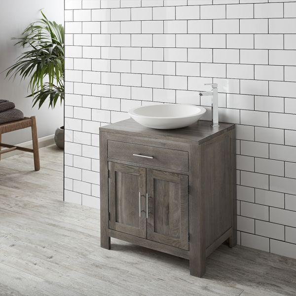 . Large Grey Wash Solid Oak 750mm Bathroom Vanity   Round Solid Surface DEVA  Basin Set ALTA75G