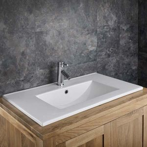 Large Rectangle Self Rimming Inset Bathroom Basin 820mm x 465mm PINA